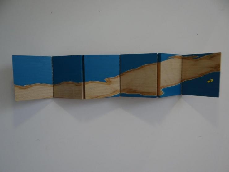 Paisagens, pintura sobre madeira e colagens 2016